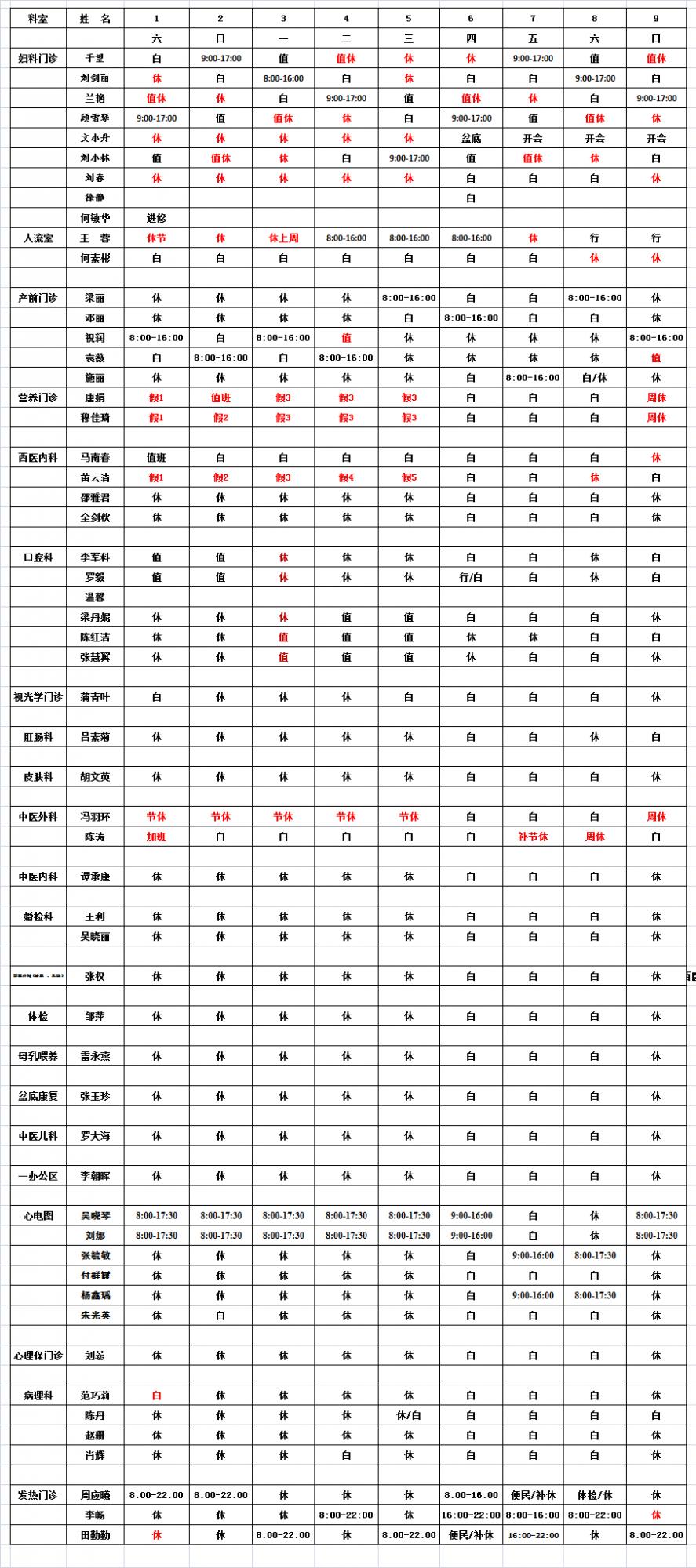 2021年5月门诊医生排班表
