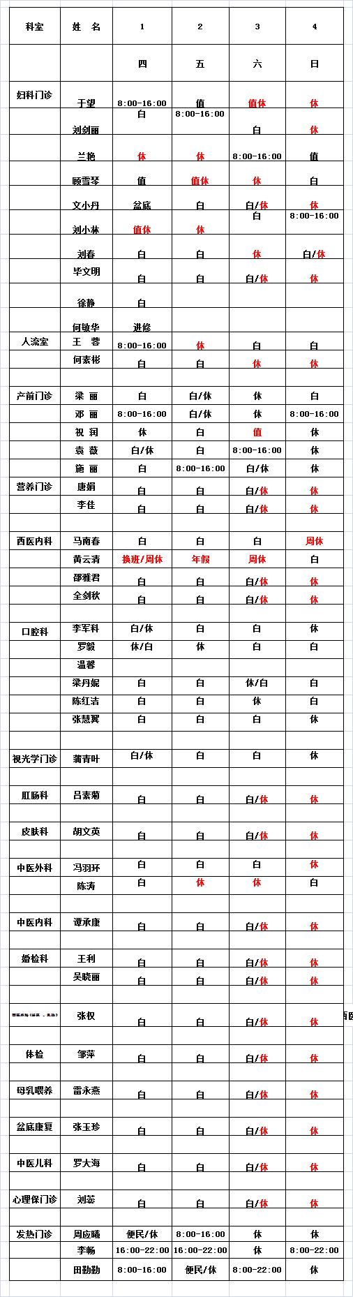 2021年7月门诊医生排班表