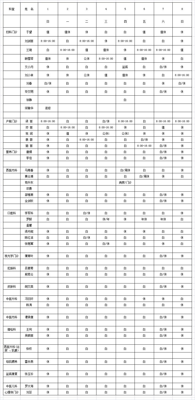 2021年8月门诊医生排班表