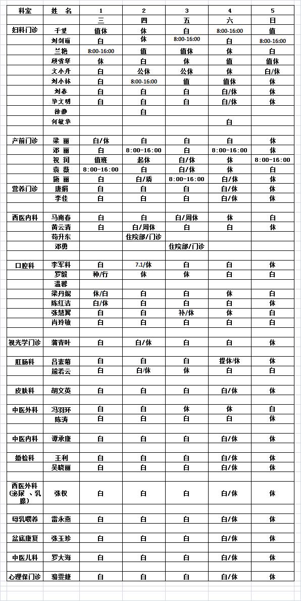 2021年9月门诊医生排班表
